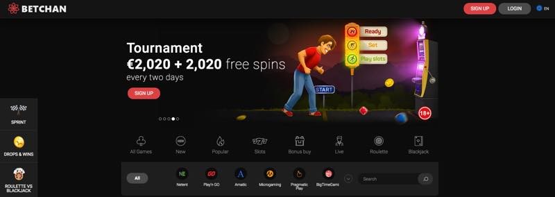 Betchan - Tournament 2020 euro + 2020 free spins every two days