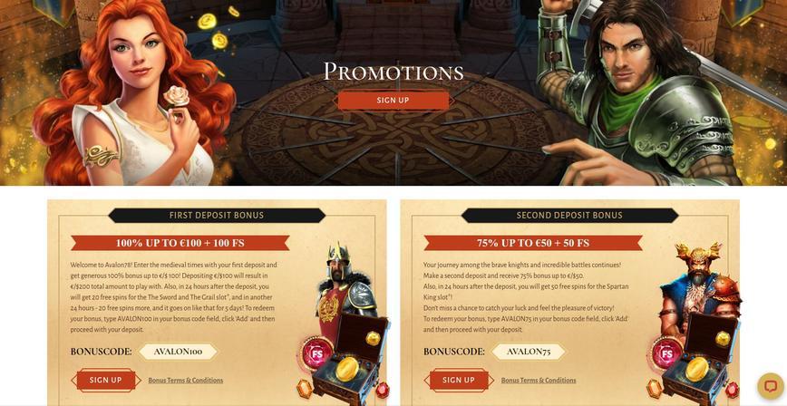 Bonus bij het Avalon78 Casino